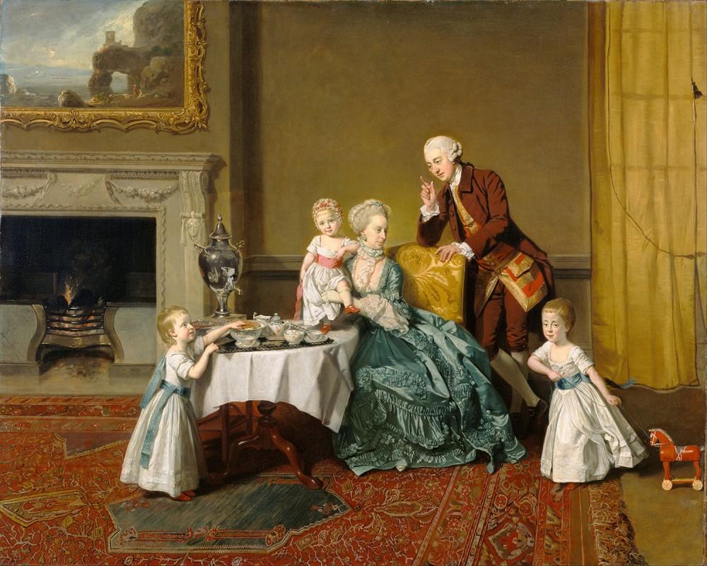 Johann Zoffany. Lord Willoughby de Broke y su familia. 1766. Centro Getty. Los Ángeles.