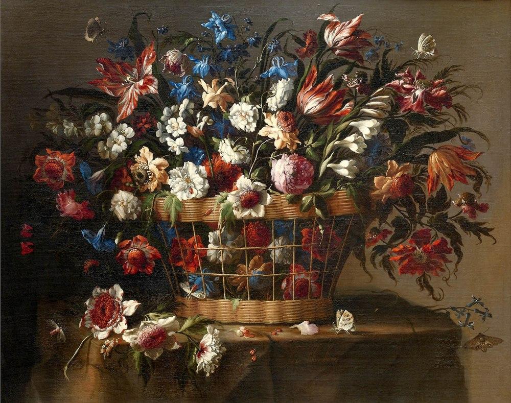 Juan de Arellano. Cesta de flores. Hacia 1670. Museo Nacional del Prado. Madrid.