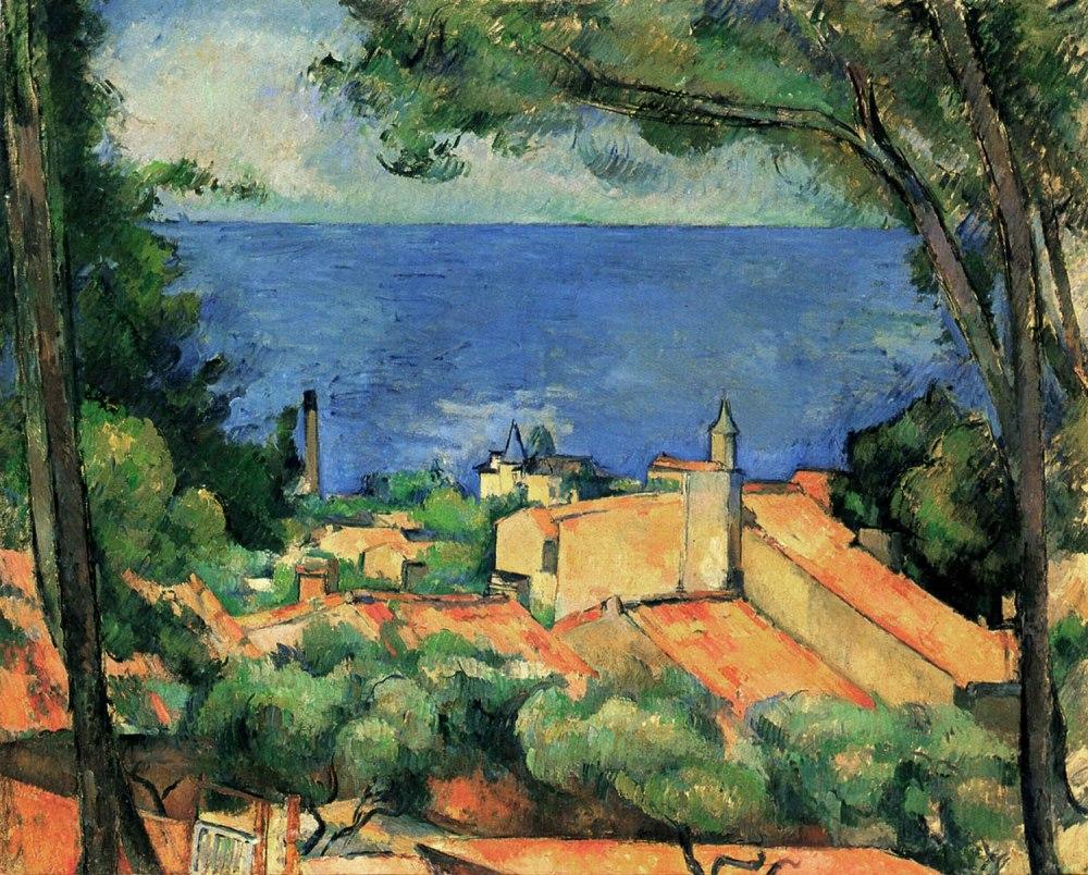 Paul Cézanne.El estanque con tejados rojos. 1883-1885. Colección particular.