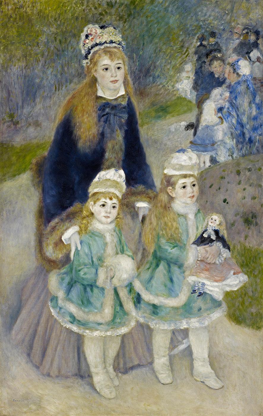 Pierre Auguste Renoir. Una madre con sus dos hijas, el paseo. 1874-1876. Frick Collection. Nueva York.