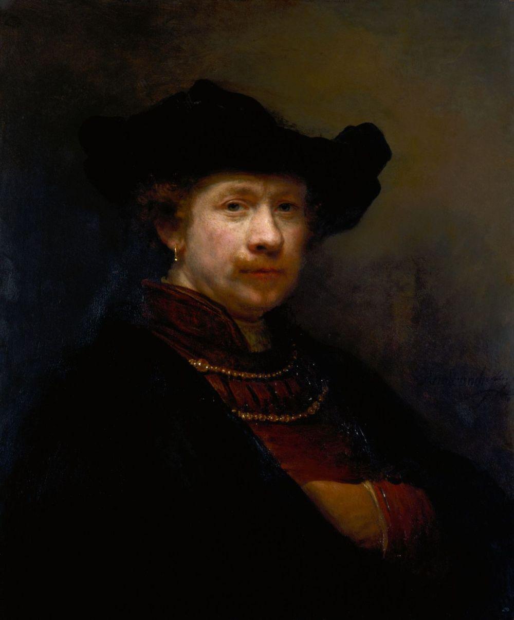 Rembrandt. Autorretrato con una gorra plana. 1642. Colección Real Inglesa.