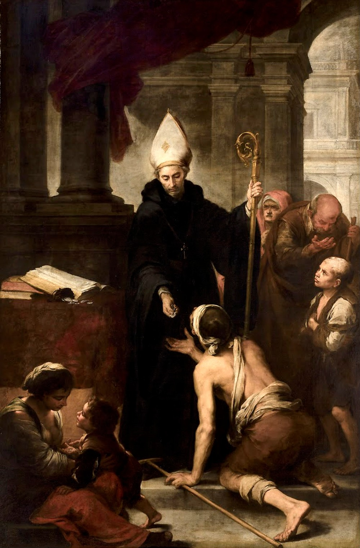 Bartolomé Esteban Murillo. Santo Tomás de Villanueva dando limosna a los pobres. 1668-1669 Museo de Bellas Artes de Sevilla.