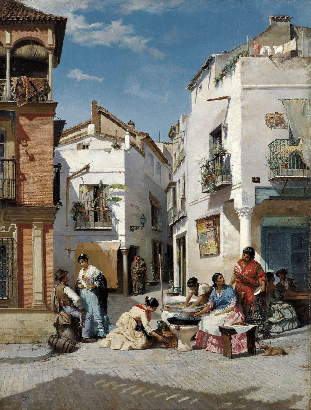 Manuel Wssel de Guimbarda .Vendedoras de rosquillas en un rincón de Sevilla. 1881. Museo Carmen Thyssen. Málaga.