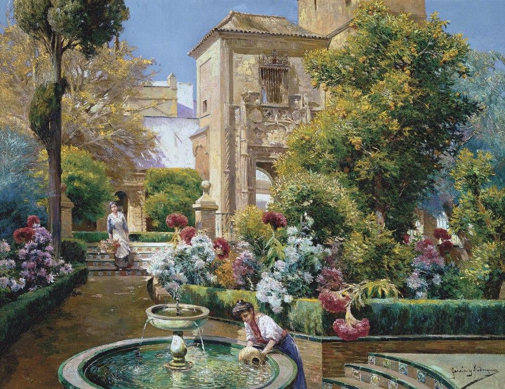 Manuel García Rodríguez. Jardines del Alcázar, Sevilla. Hacia 1920-1925. Museo Carmen Thyssen. Málaga.