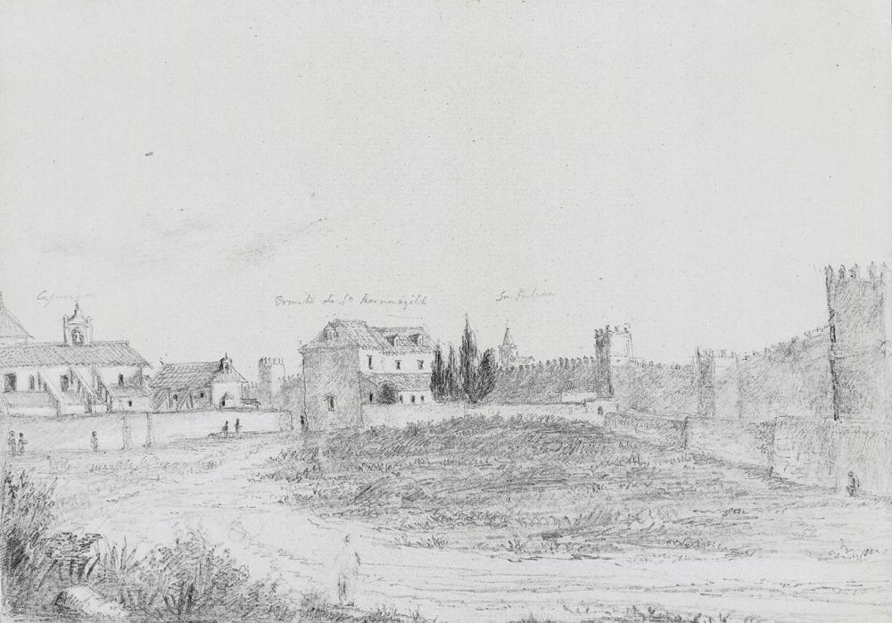Richard Ford. Convento de los Capuchinos, Iglesia de San Hermenegildo y murallas de Sevilla. 1831.