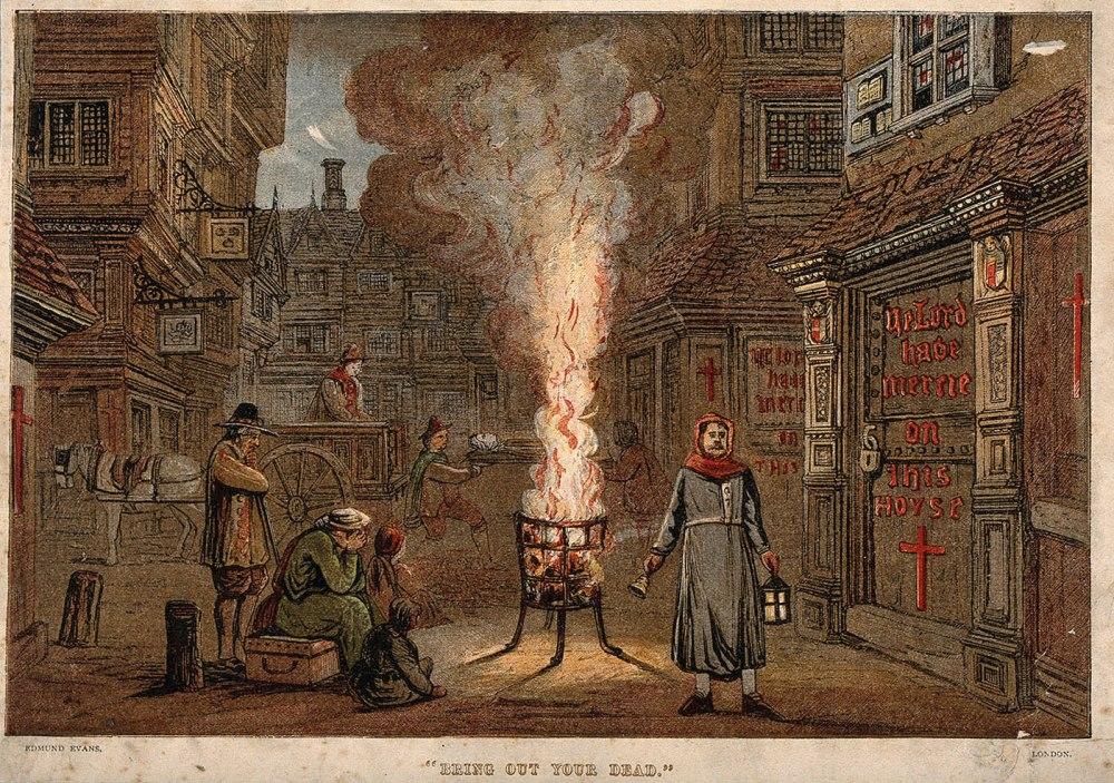 Edmund Evans. Una calle durante la plaga en Londres con un carro de la muerte y dolientes. 1864. Crónica de Inglaterra.