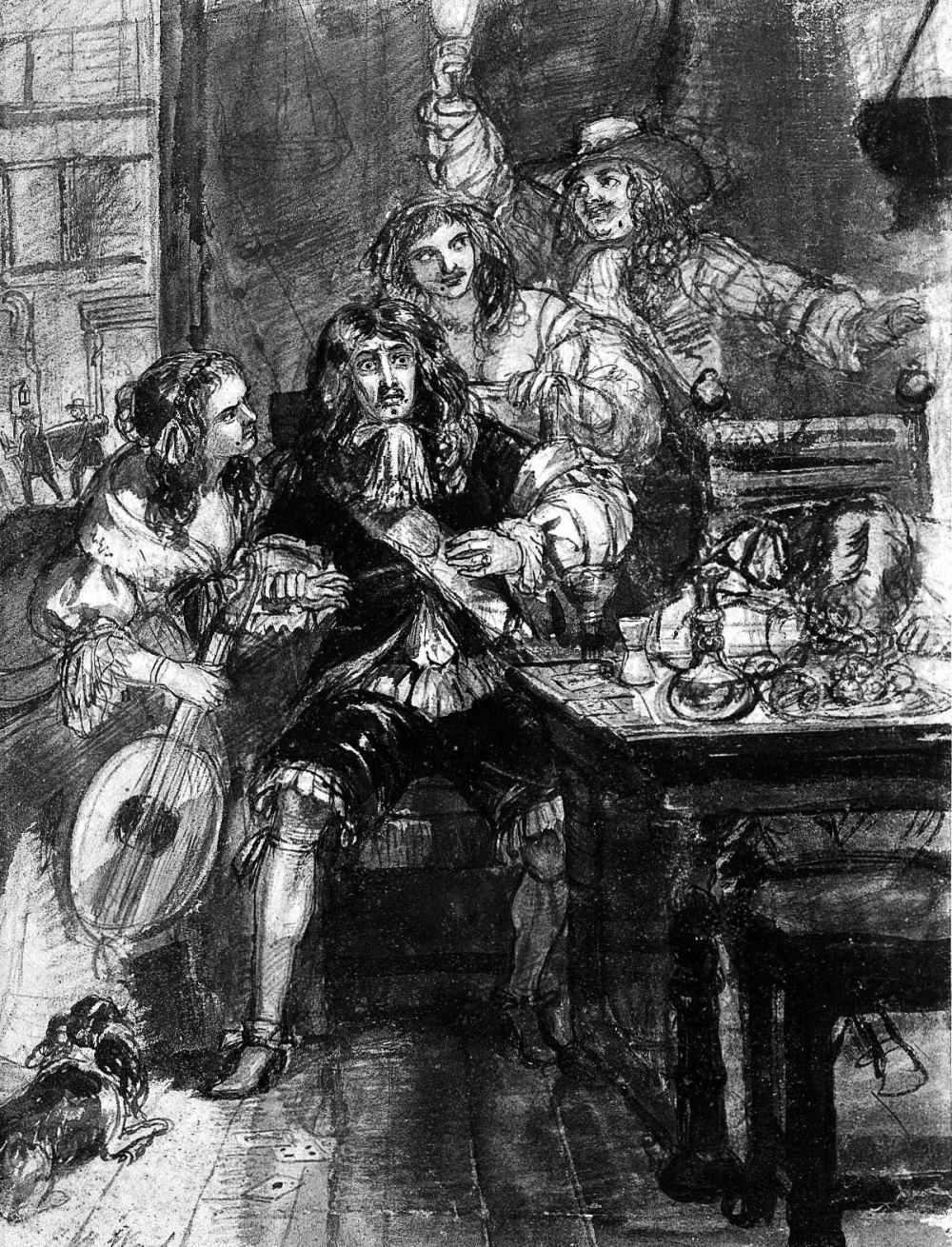 Edward Ward. Un hombre aterrorizado al darse cuenta de que ha contraído la peste. 1848. Wellcome Collection.