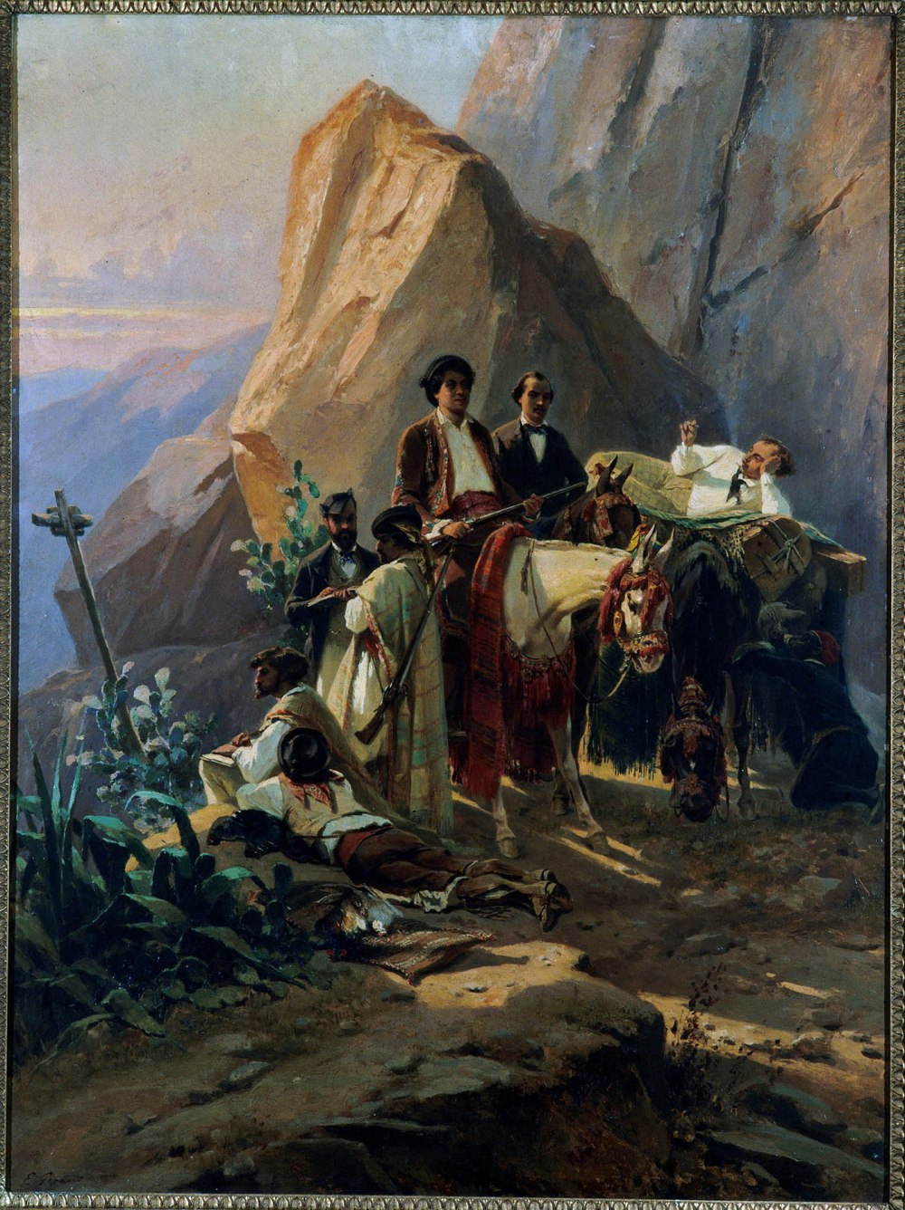 Eugene Giraud.  Recuerdo del viaje de París a Cádiz realizado en 1846 por Alexandre Dumas y sus amigos. Hacia 1855. Museo Carnavales. París.