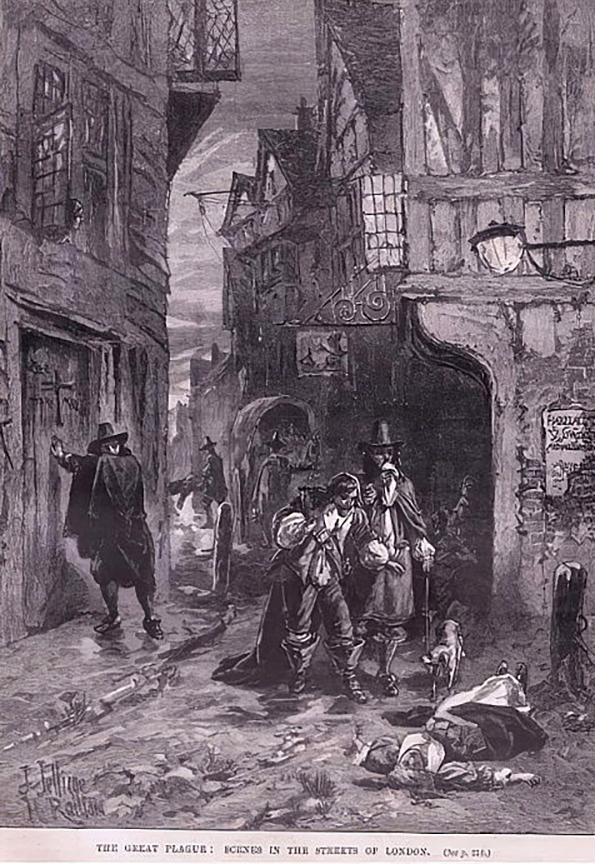 Herbert Railton. La gran peste. Escenas en las calles de Londres. 1665. Colección particular.