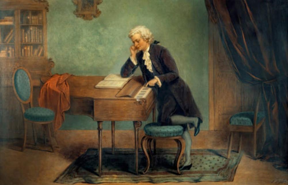 Josef Büche. Mozart componiendo.Hacia 1880. Colección particular.