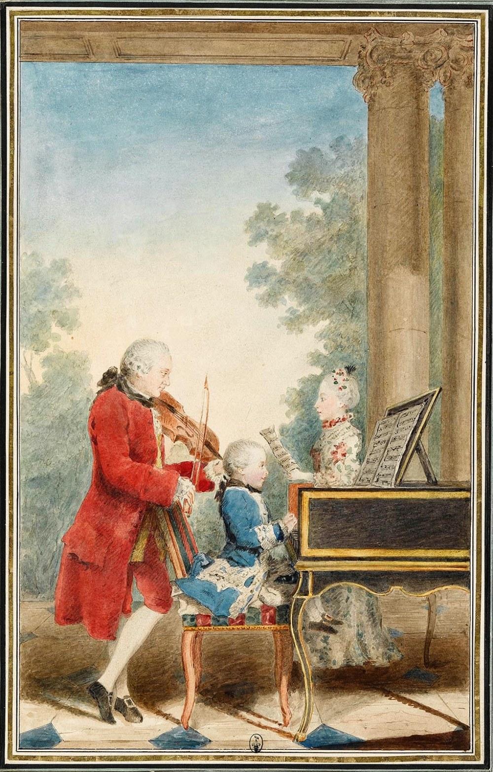 Louis Carrogis Carmontelle. Retrato de Mozart jugando en París con su padre Jean-Georg-Léopold y su hermana Maria-Anna. 1763. Museo Condé. Castillo de Chantilly. Oise.