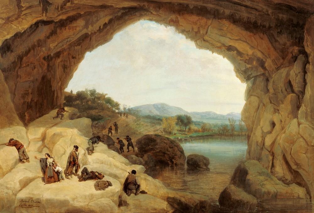 Manuel Barrón y Carrillo. Emboscada a unos bandoleros en la cueva del Gato. 1869. Museo Carmen Thyssen. Málaga.