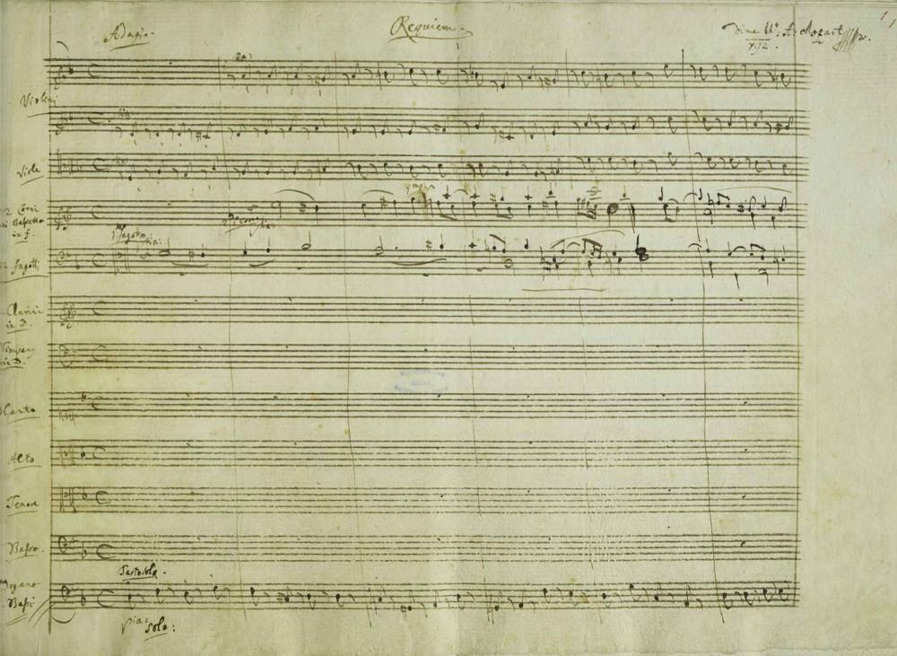 Mozart. Partitura de la misa de Requiem. 1791. Libreria Nacional Austriaca.
