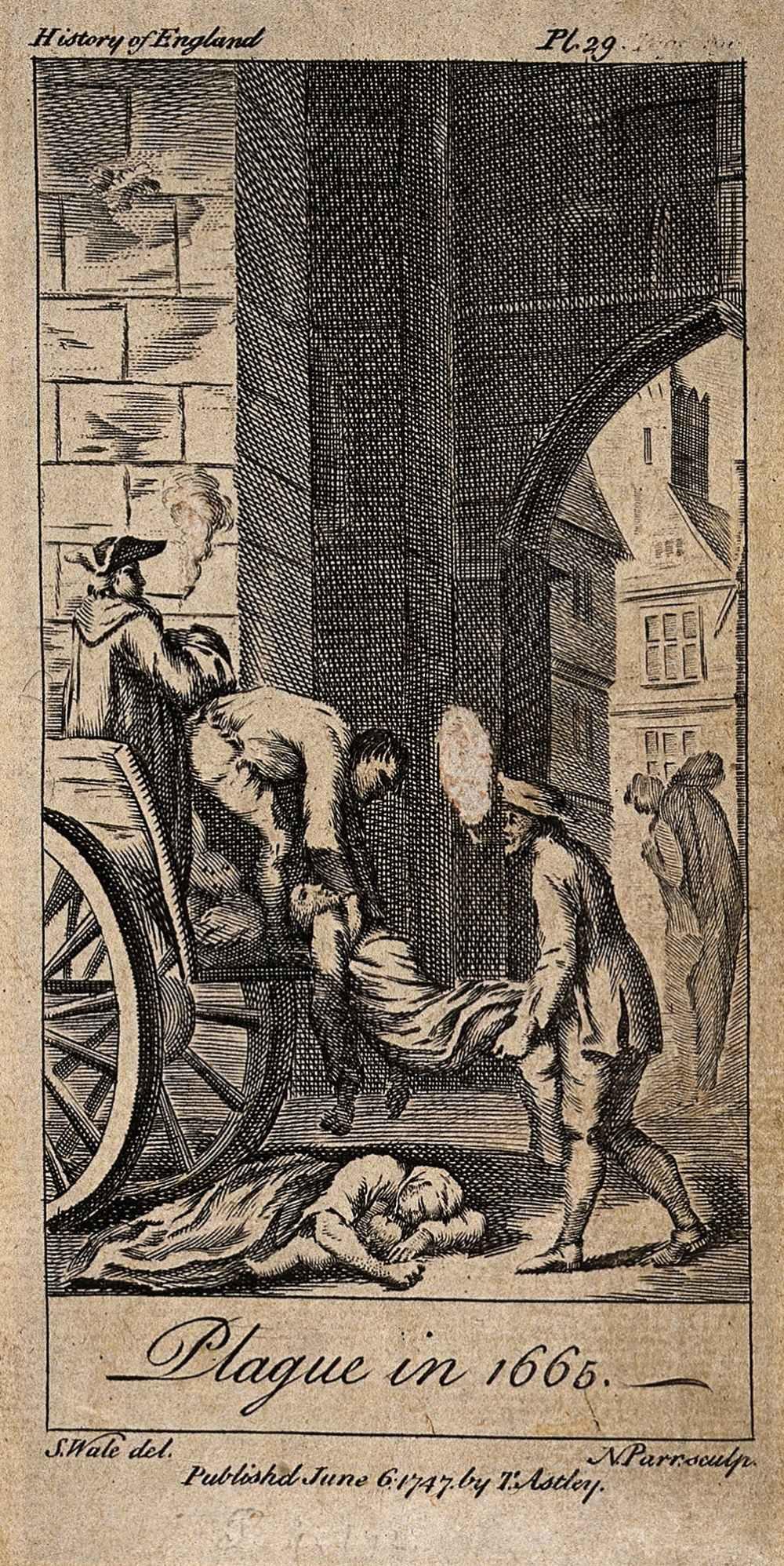 Samuel Wale. Las víctimas de la peste de 1665 son levantadas en un carro de la muerte. 1747. Wellcome Collection.