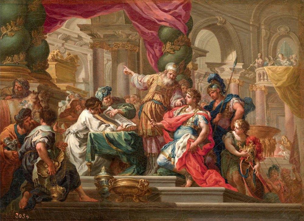Sebastiano Conca. Alejandro Magno en el Templo de Jerusalén. 1736. Museo Nacional del Prado. Madrid.