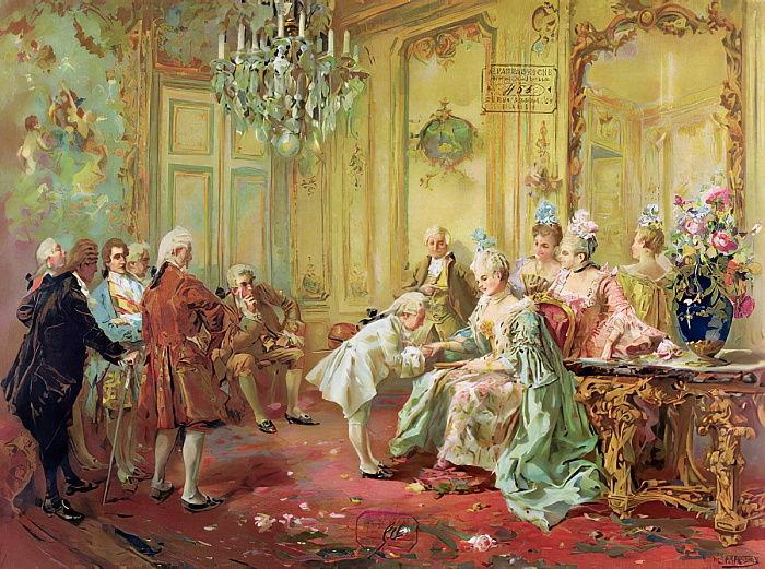 Vicente de Paredes. La presentación del joven Mozart a madame de Pompadour en 1763. Biblioteca Nacional de Paris. Francia.