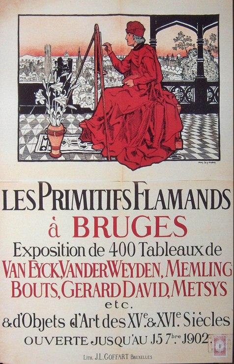 Amedée Lynen. Los Primitivos Flamencos en Brujas. Poster de la exposición. 1902. Brujas.