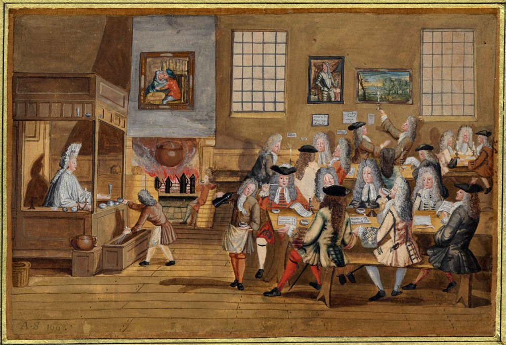 Anónimo. Interior de una cafetería en Londres. Hacia 1668. Museo Británico. Londres.