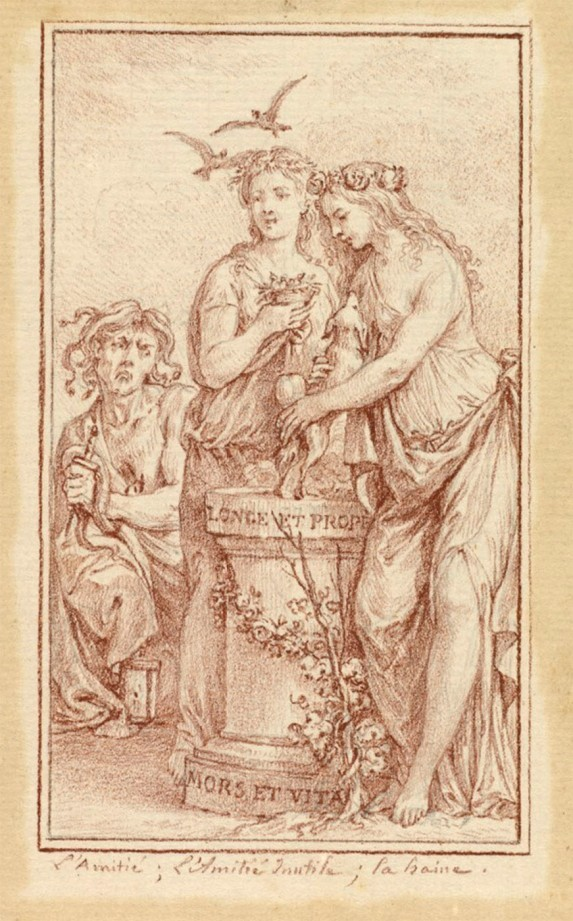 Charles-Nicholas Cochin II. Amistad, amistad inútil y odio. Almanaque iconológico. 1774-1775. National Gallery of Art. Washington.