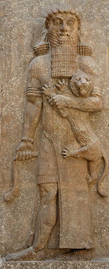 Héroe dominando un león. Relieve de la fachada de la sala del trono, Palacio de Sargón II en Khorsabad 713–706 a. C. Museo del Louvre. París.