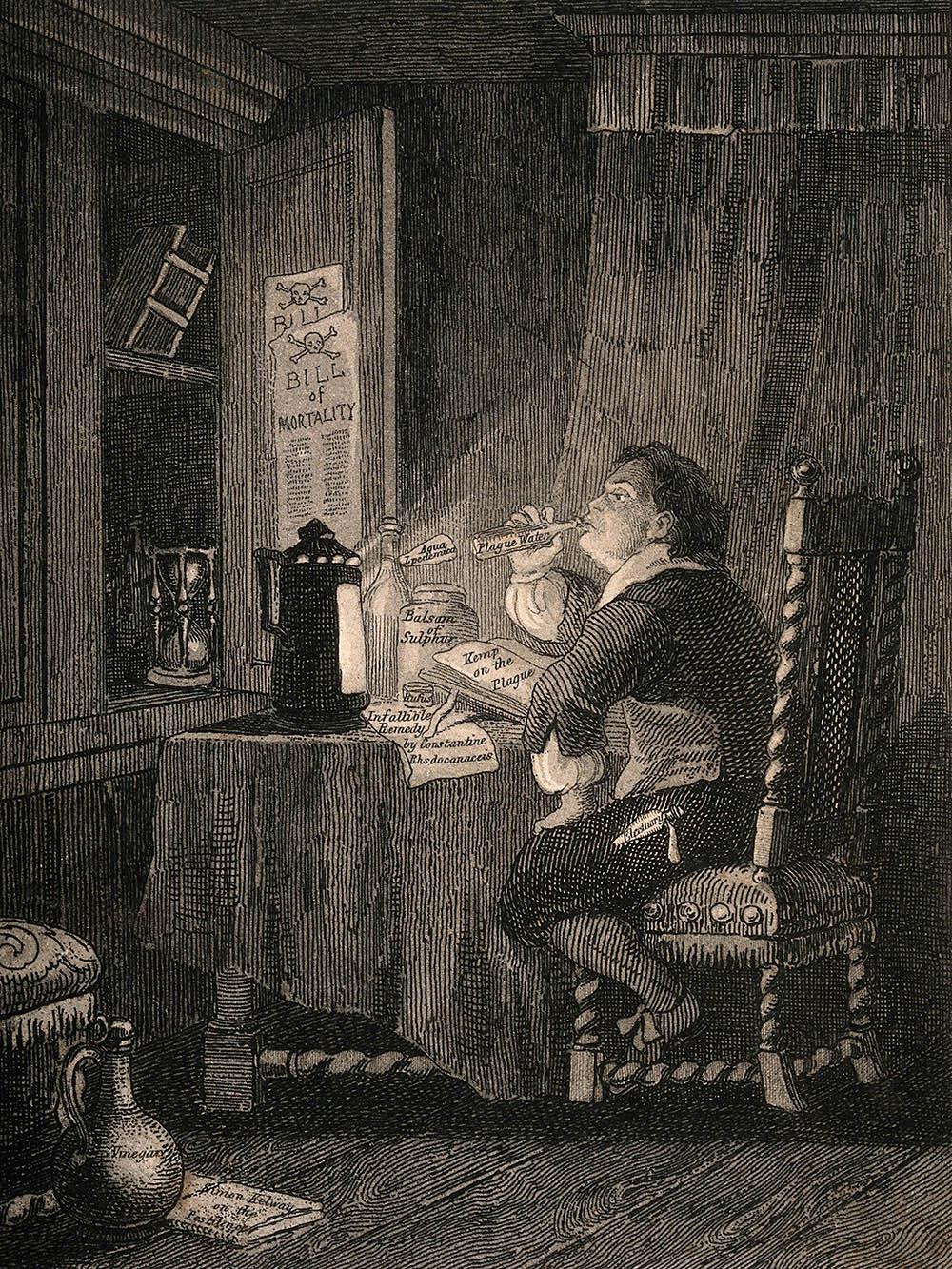 J Franklin. Un hombre que consume muchos antídotos contra la plaga durante la Gran Plaga de Londres.1841. Wellcome Collection.