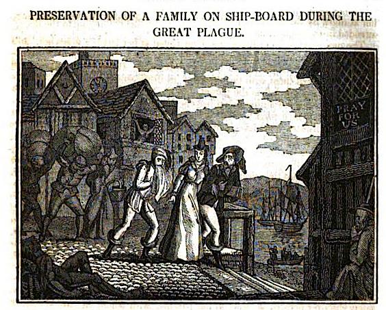 John Byfield. Traslado de una familia a bordo del barco durante la Gran Peste. 1825. HathiTrust Digital Library.