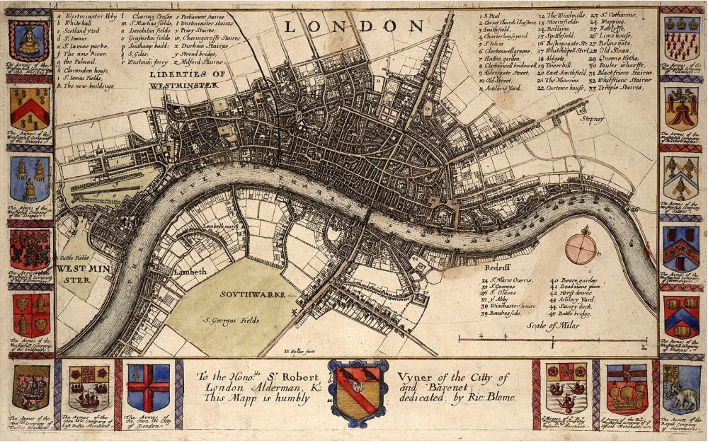Wenceslaus Hollar. Plano de Londres antes del incendio 1607-1677. Thomas Fisher Rare Book Library.j Toronto.