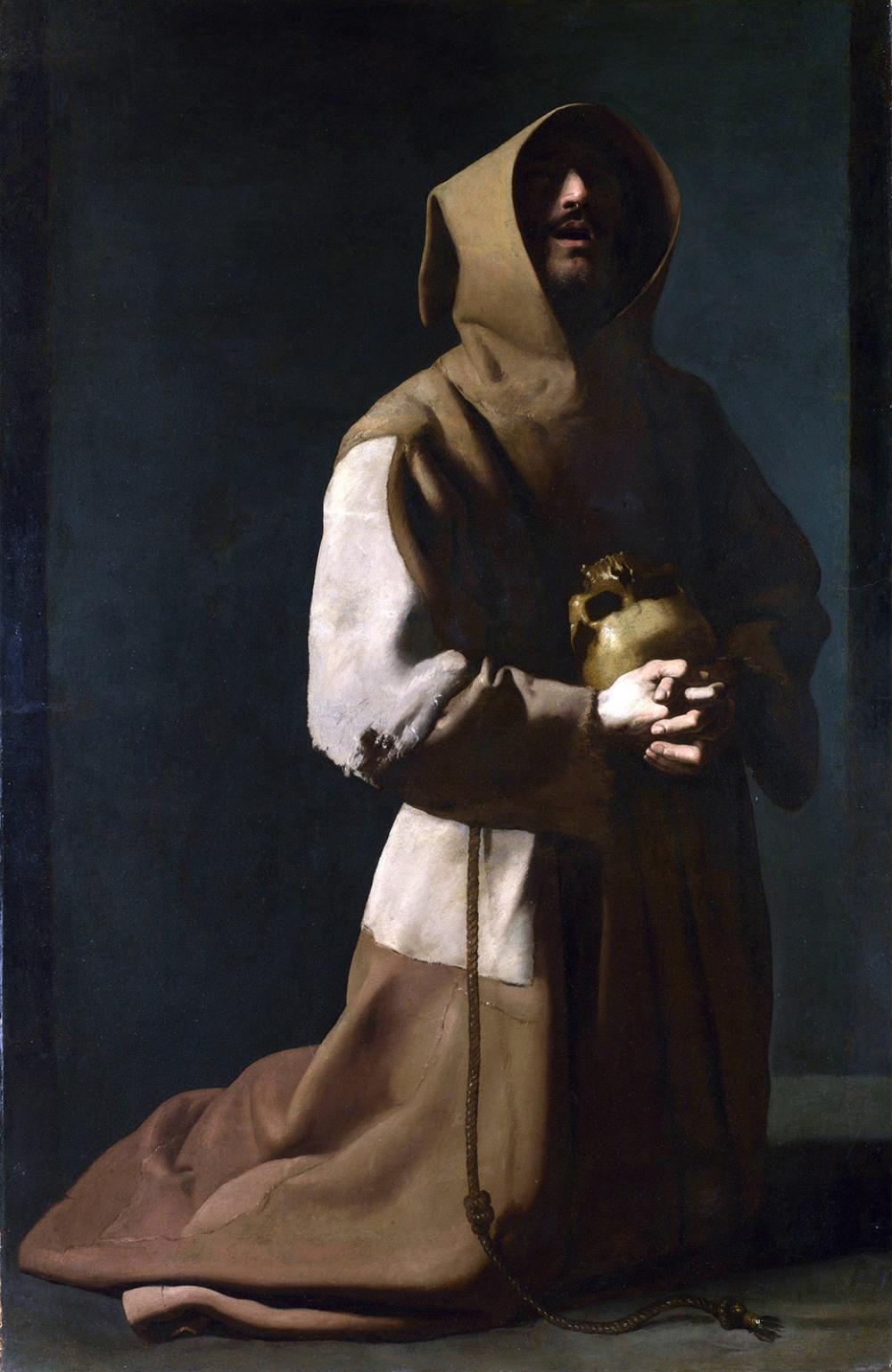 Francisco de Zurbarán. San Francisco meditando. 1635-1639. National Gallery. Londres.