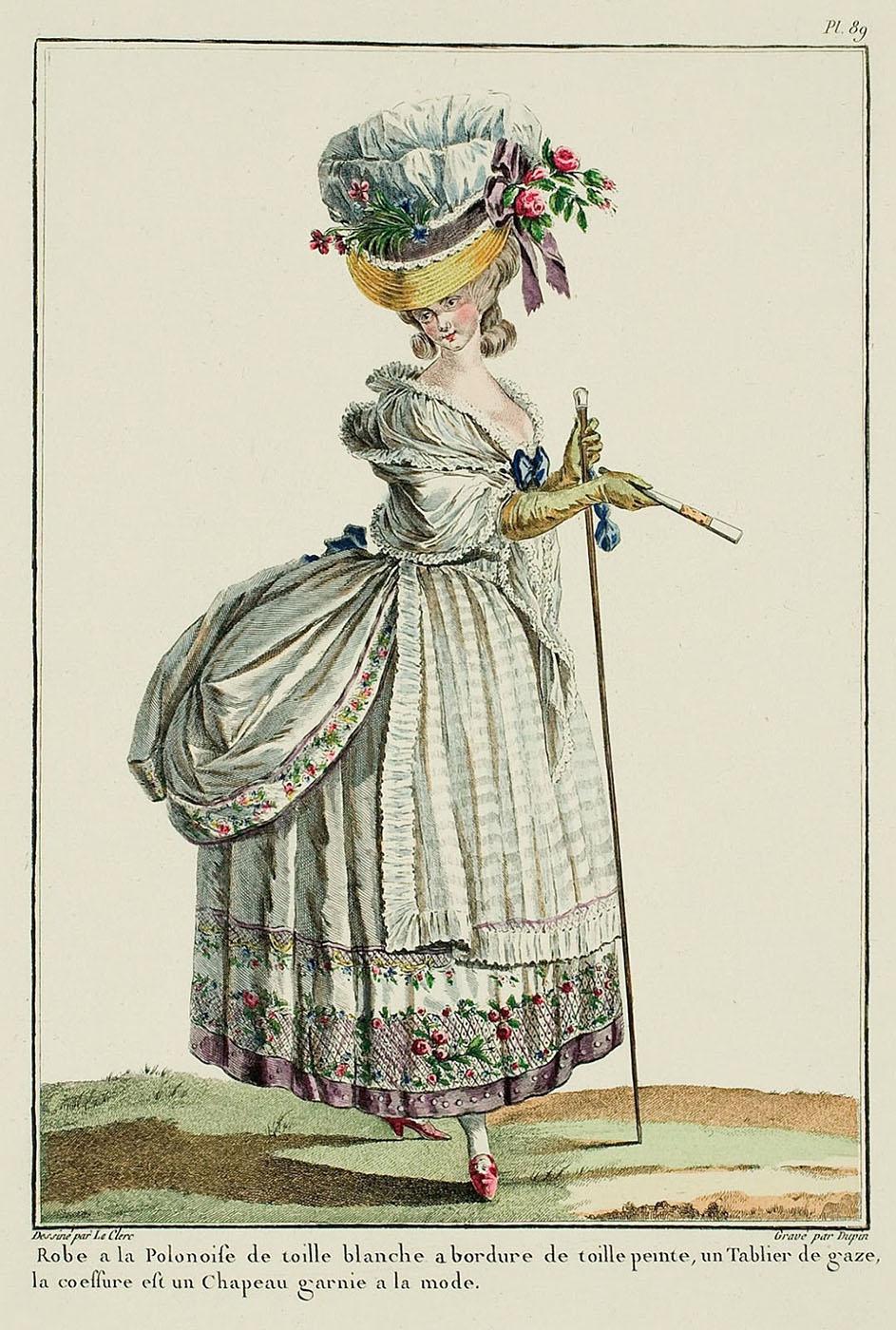 """Vestido """"a la polonesa"""". Galerie de Modes. 1779."""