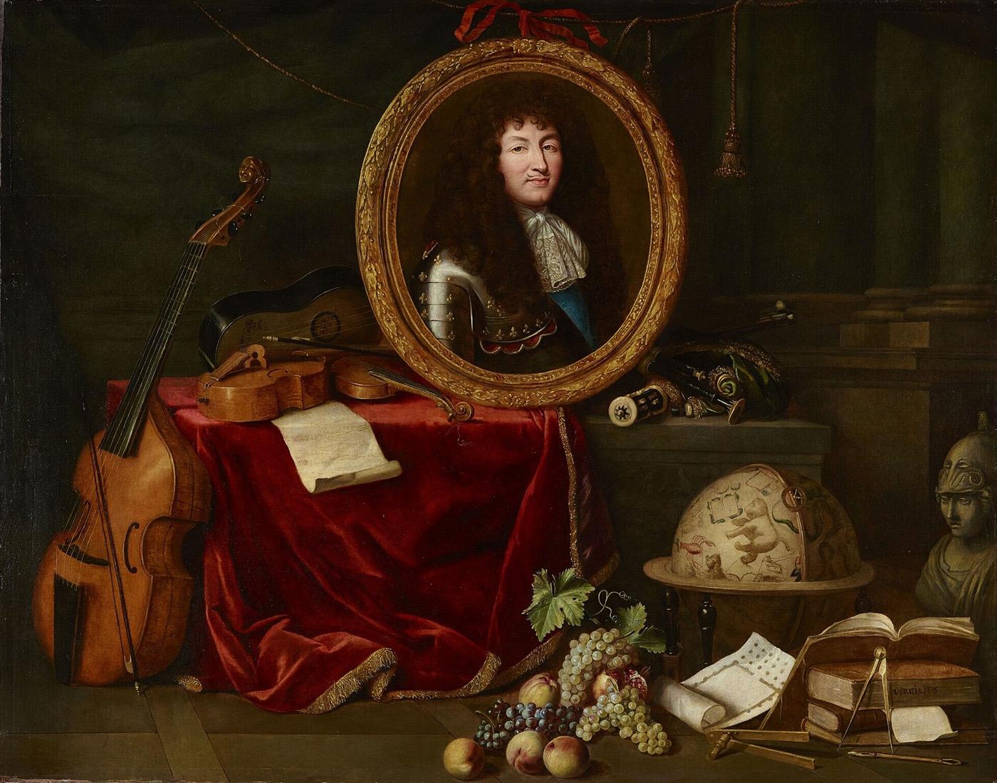 Jean Garnier. Luis XIV, protector de las Artes y las CIencias. Alegoría de 1672. Palacio de Versalles. Versalles.