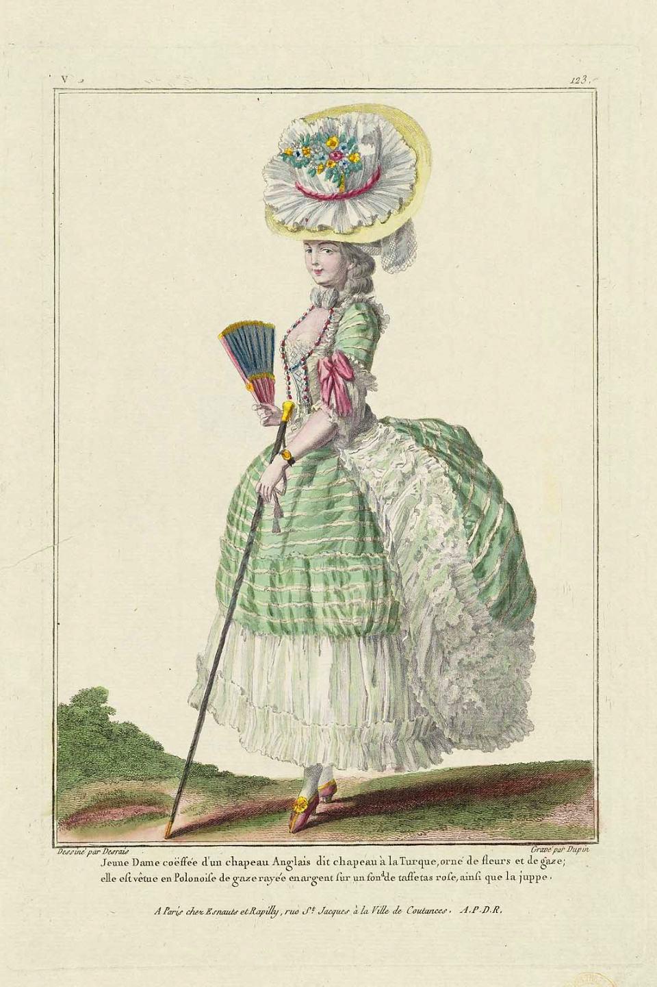"""Vestido """"a la polonesa"""". América. Hacia 1780-1785. Metropolitan Museum. Nueva York."""