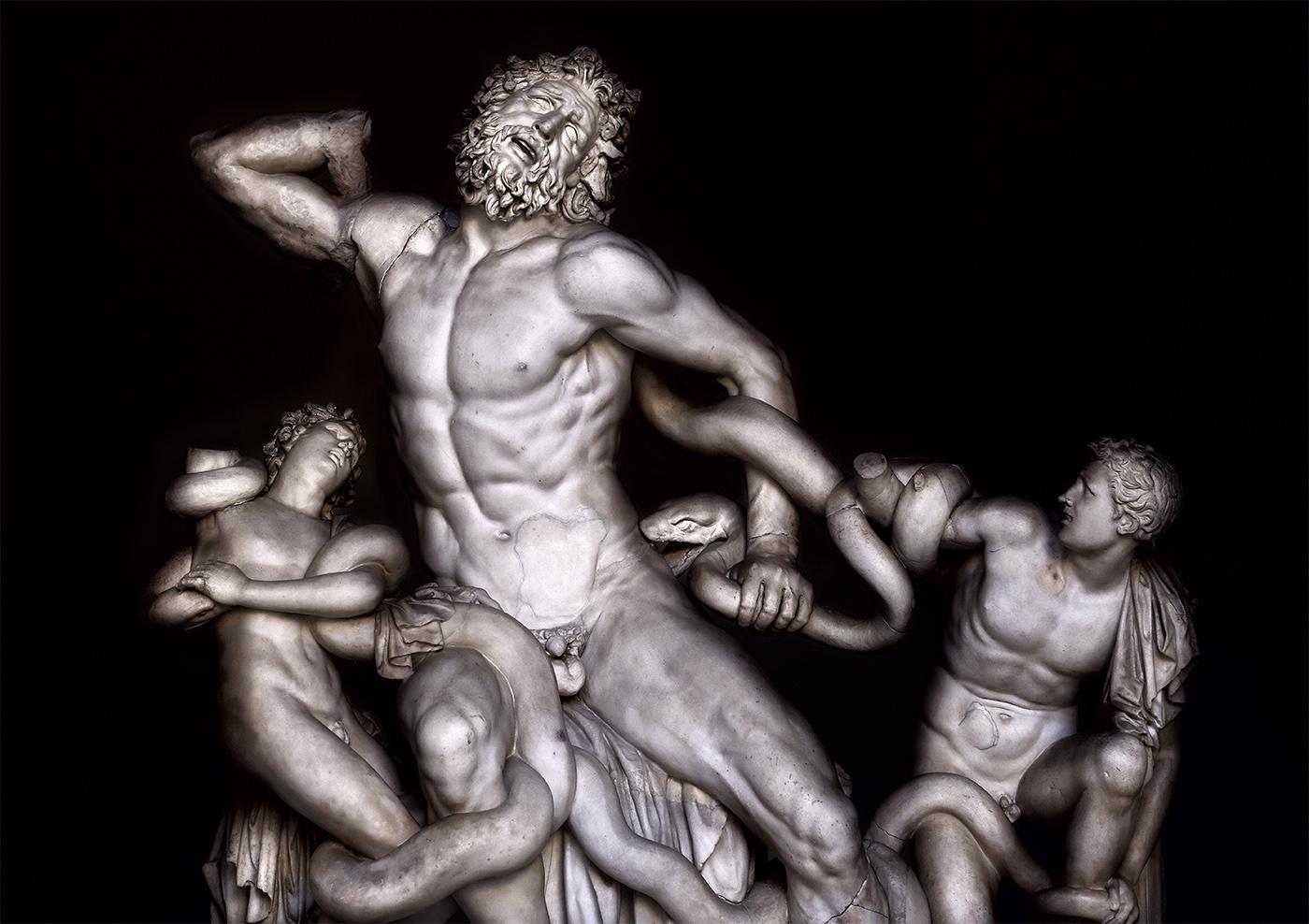 Atenodoro, Polidoro de Rodas y Agesandro. El Laoconte y sus hijos. Siglo I d.C. Museos Vaticanos.