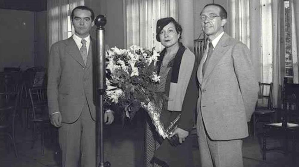 García Lorca, Margarita Xirgu y Rivas Cheriff. / Foto: Arxiu Nacional de Catalunya.