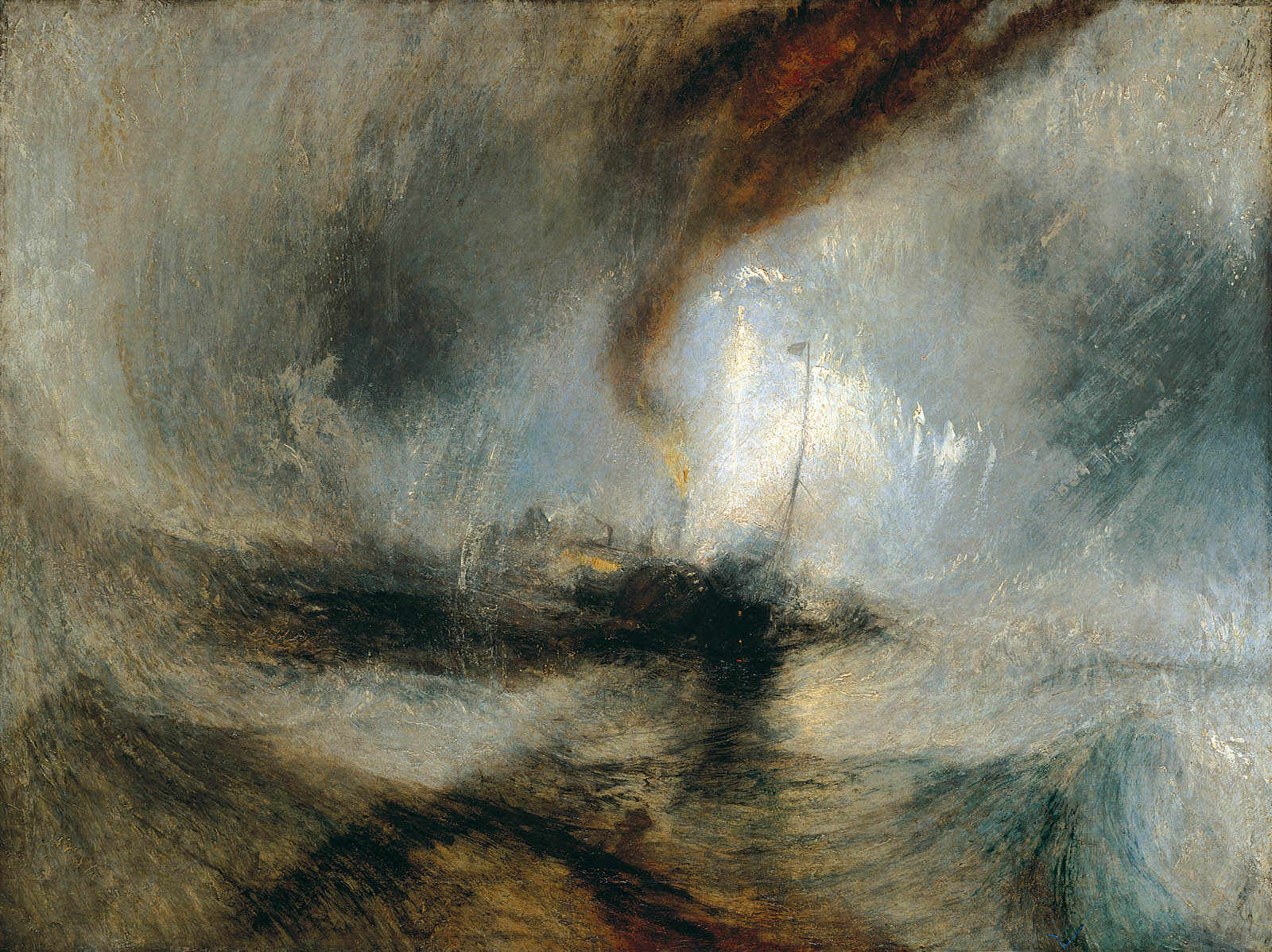 William Turner. Tormenta de nieve: barbo de vapor en la boca de un puerto. Hacia 1842. Tate Britain. Londres.
