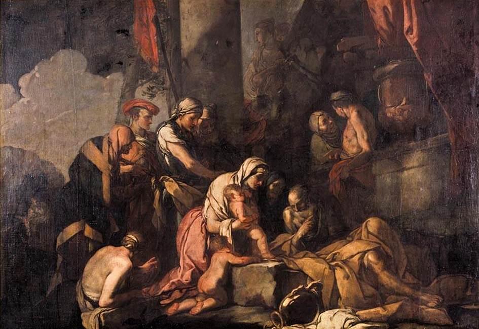 Giulio Carponi. Liriope lleva a Narciso ante Tiresias . 1660-1670. Colección particular.