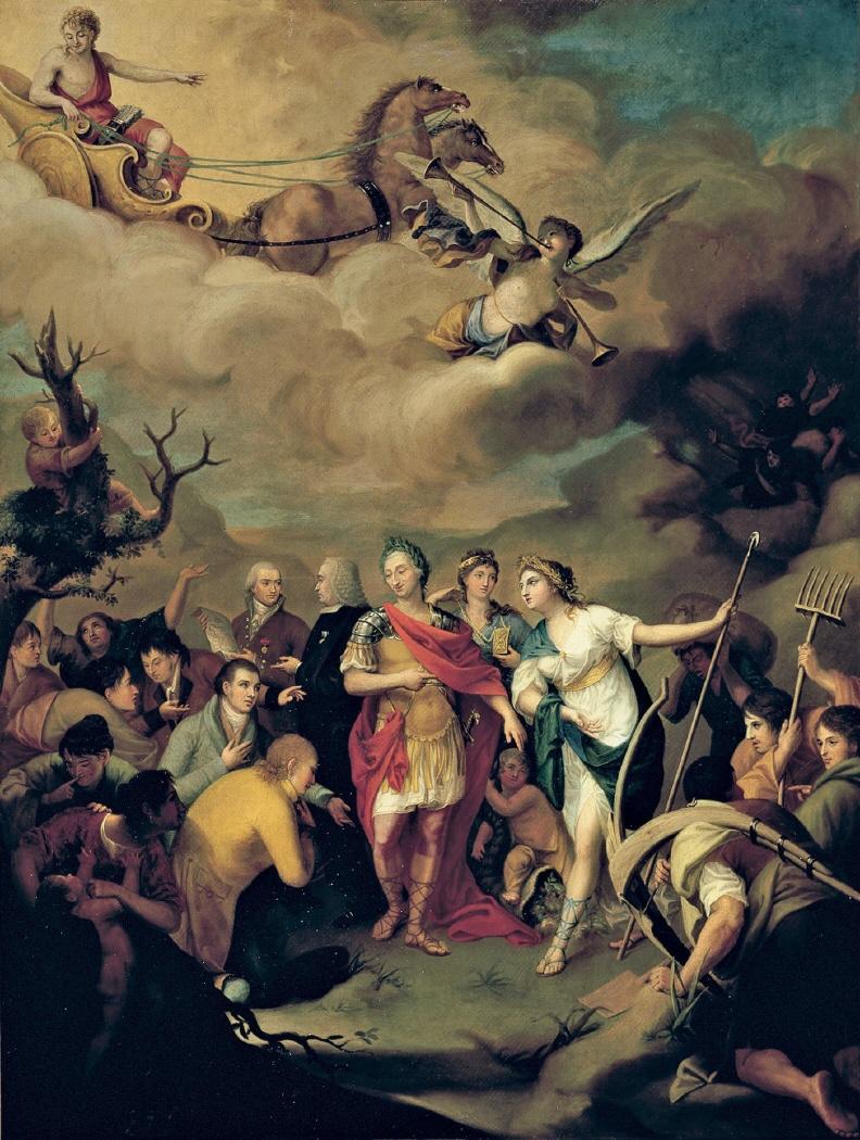José Alonso del Rivero. Carlos III entregando las tierras a los colonos de Sierra Morena. 1805. Real Academia de Bellas Artes de San Fernando.