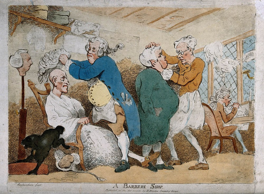 Thomas Rowlandson. Barbería. Siglo XVIII. Wellcome collection.