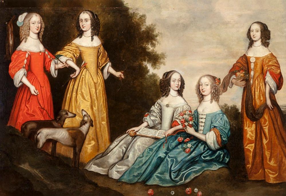 Anónimo (escuela inglesa). Grupo de cinco mujeres en un paisaje. Hacia 1650. Colección particular.