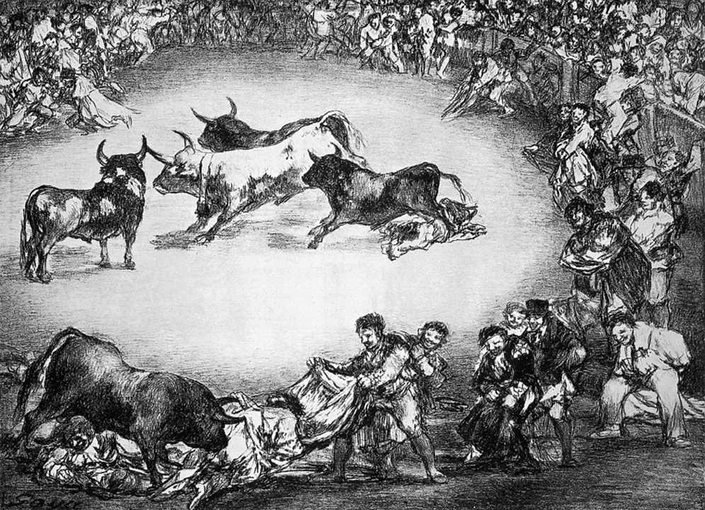 """Francisco de Goya. Los toros de Burdeos. """"Diversión de España."""" Hacia 1824-1825."""