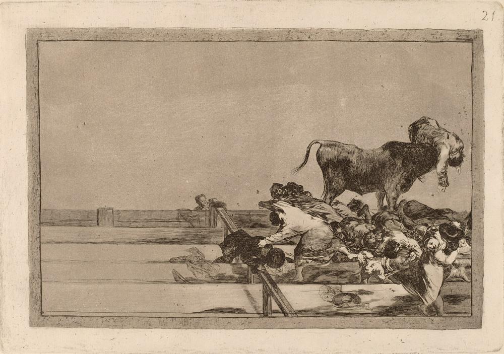 """Francisco de Goya. Tauromaquia. """"Desgracias acaecidas en el tendido de la plaza de Madrid, y muerte del alcalde de Torrejón."""" 1816."""
