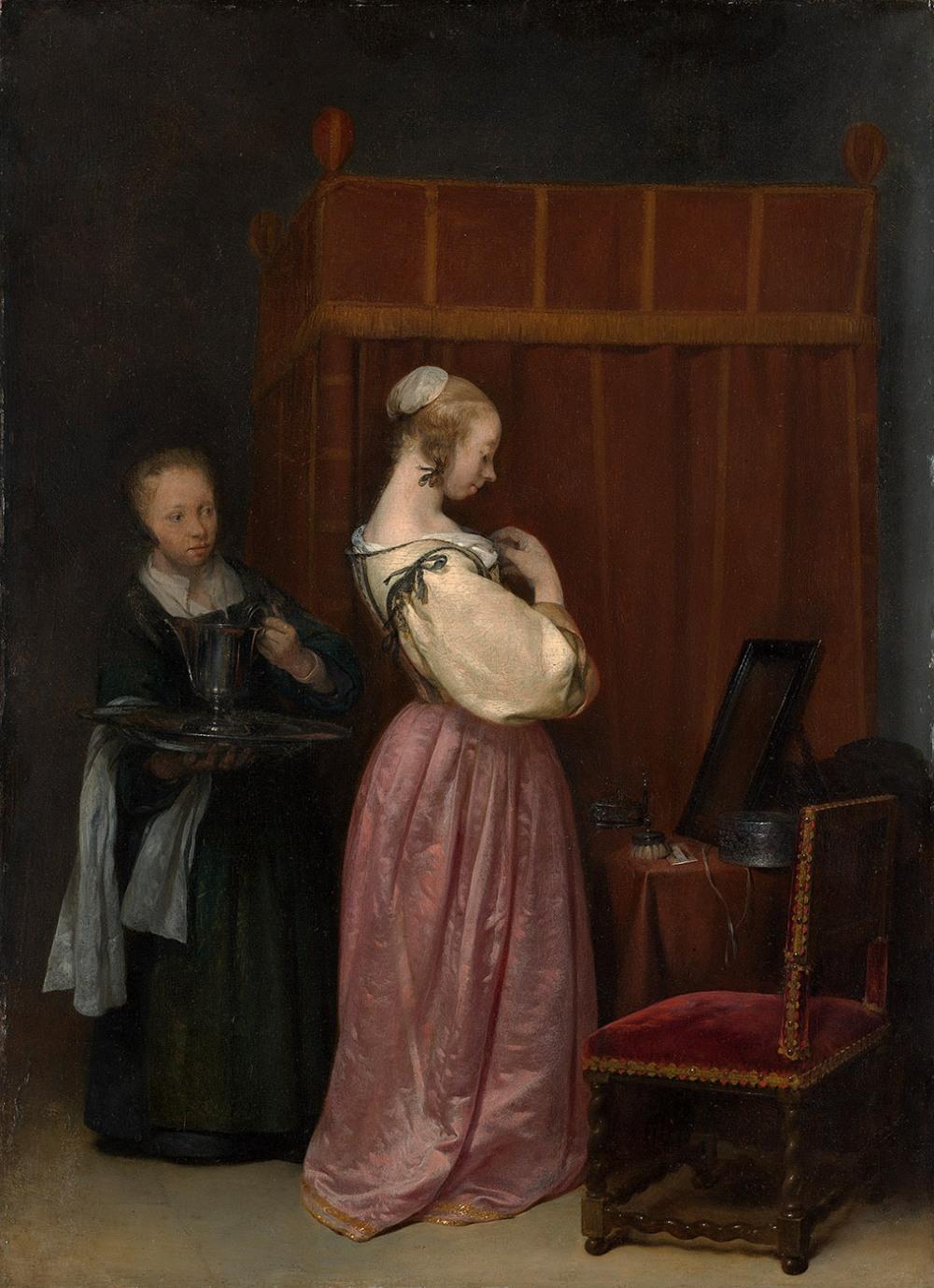 Gerard ter Borch, el joven. Una mujer joven en su baño con una criada. 1650-1651. Metropolitan Museum. Nueva York.