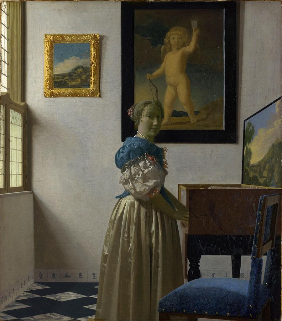 Johannes Vermeer. Joven de pie en un virginal. 1670-1672. National Gallery. Londres.