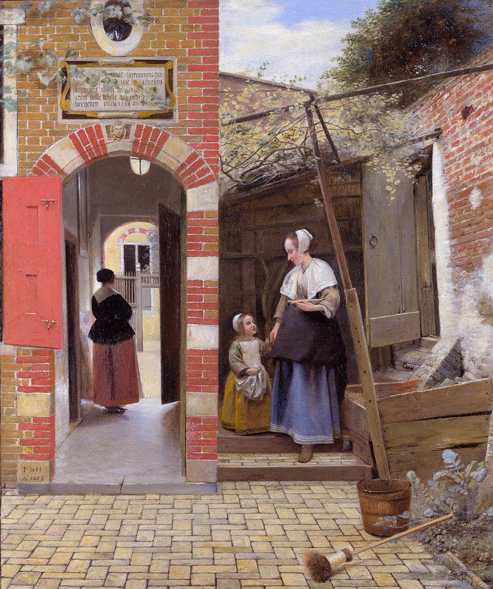 Pieter de Hooch.El patio de una casa en Delft. 1658. National Gallery. Londres.