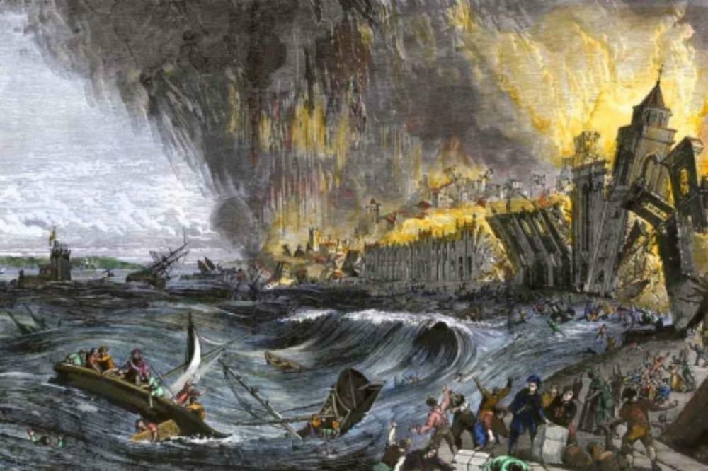 Recreación artística del tsunami de Lisboa de 1755, de Getty Images