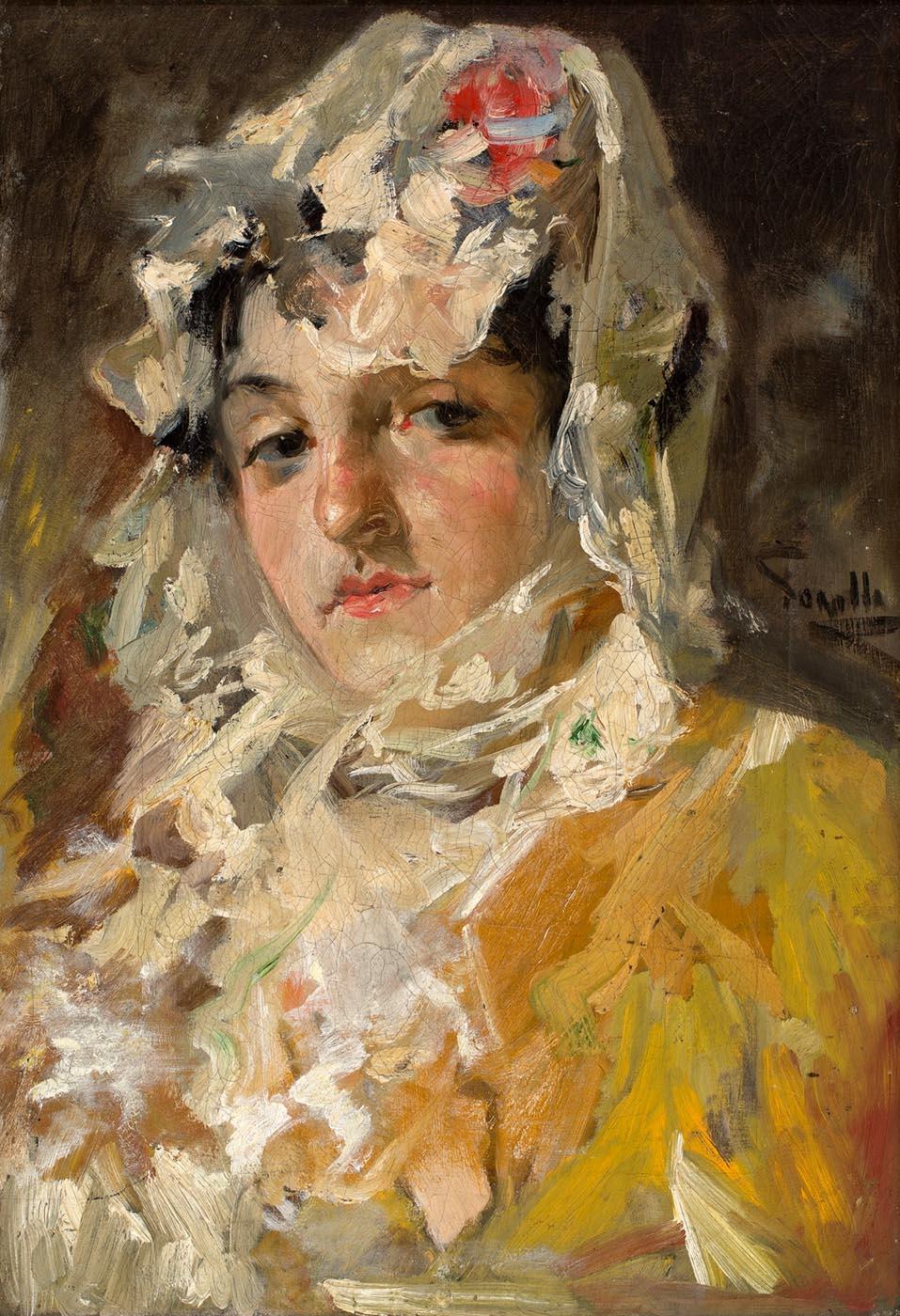 Joaquín Sorolla y Bastida. Cabeza de mujer con mantilla blanca. Hacia 1882. Museo Nacional del Prado. Madrid.