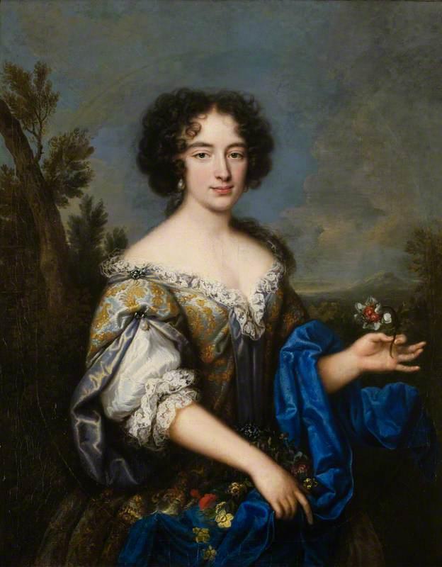 Pierre Mignard (Atribuido a). La duquesa de La Vallière.  Finales del siglo XVII. Fyvie Castle. Reino Unido. La duquesa de La Vallière y  de Vaujours (1644– 1710), fue la favorita de Luis XIV desde 1661 a 1667. La pareja tuvo cinco hijos. La duquesa de La Vallière ingresó  en el convento carmelita del Faubourg de Saint-Jacques en París en 1674. Un año después pronunció sus votos perpetuos como Sor Luisa de la misericordia ante la misma reina María Teresa,  la cual le entregó el velo negro.