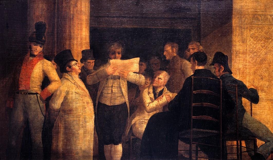 Leonardo Alenza. Tertulianos ilustrados en el café de Levante. 1839. Muswo Lázaro Galdiano. Madrid.