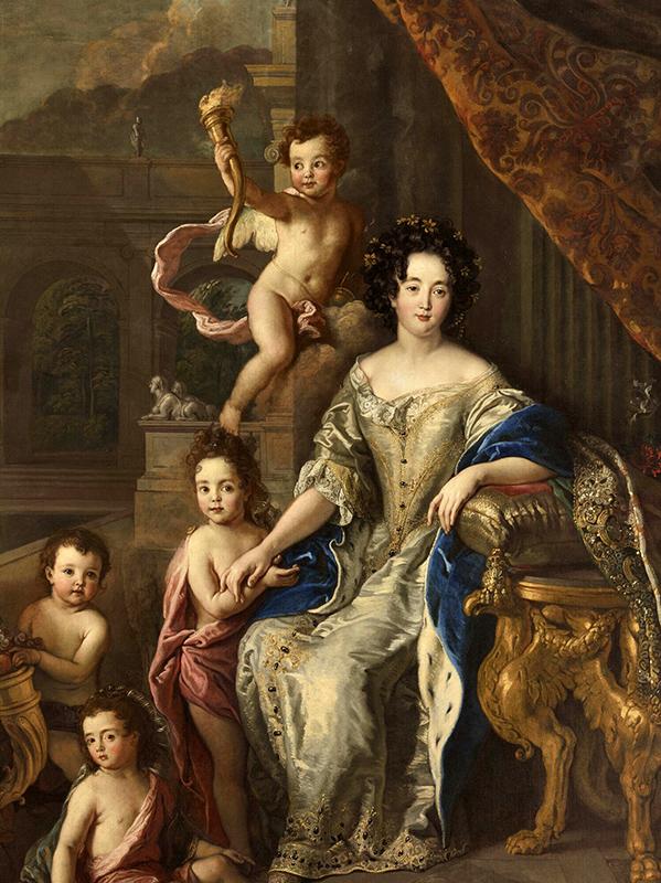 Taller de  Pierre Mignard.  Madame de Montespan con sus hijos. Hacia 1677. Palacio de Versalles. Françoise-Athénaïs de Rochechouart de Mortemart, marquesa of Montespan (1640 –1707), fue la más célebre favorita de Luis XIV con quien tuvo siete hijos.