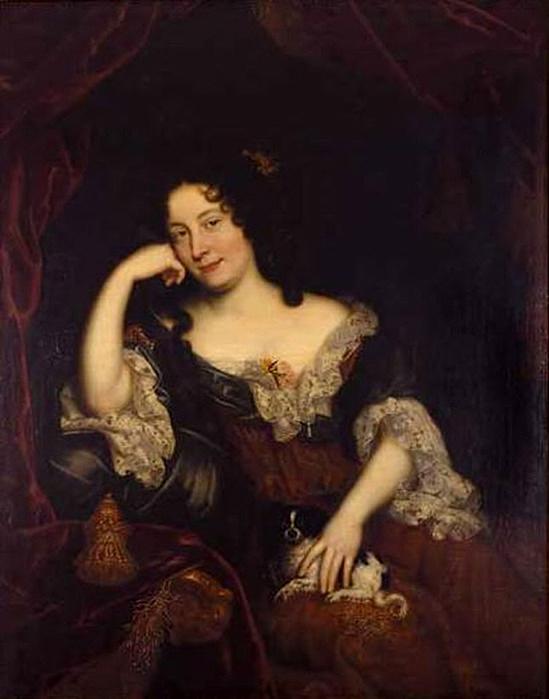 Anónimo.  Retrato de Madame de Maintenon. Finales del siglo XVII. Viuda del poeta Paul Scarron, era la gobernanta de los hijos del rey y la marquesa de Montespan. En 1683 contrajo matrimonio en secreto con Luis XIV. La pareja no tuvo hijos.
