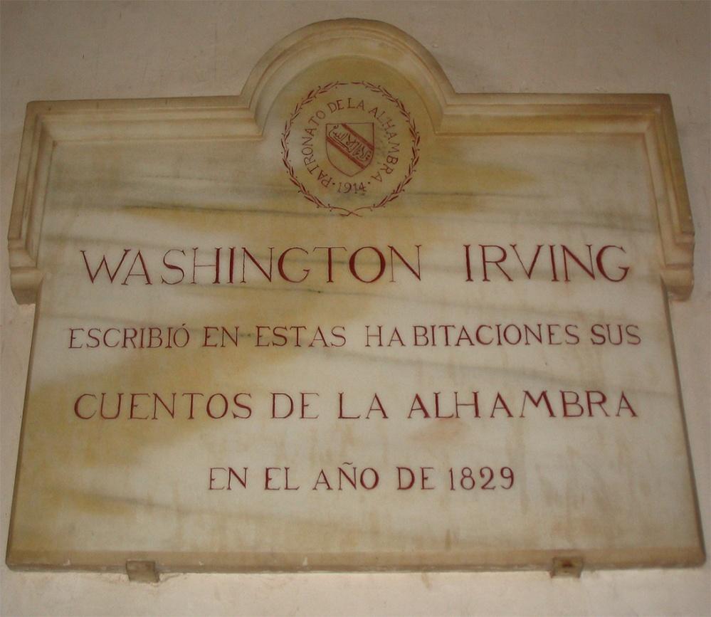 Placa en recuerdo a Washington Irving.